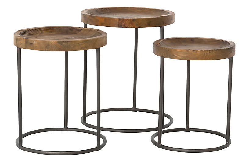 Kash Nesting Tables, Bleached Pine