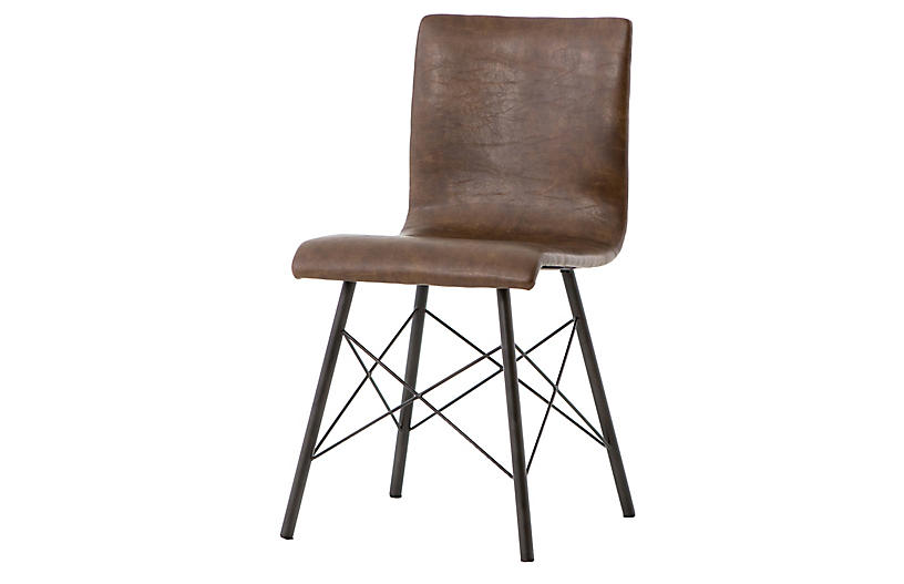 Micah Side Chair, Distressed Brown