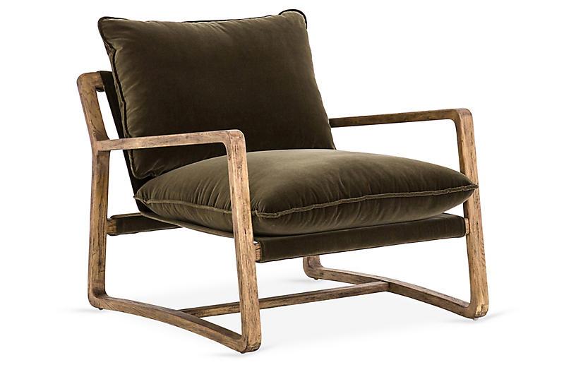 Tinmouth Chair, Olive Velvet