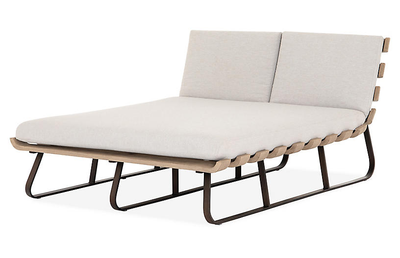 Dimitri Double Chaise, Stone Gray