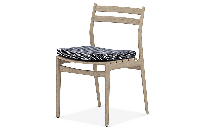 Leland Outdoor Dining Chair, Brown/Navy