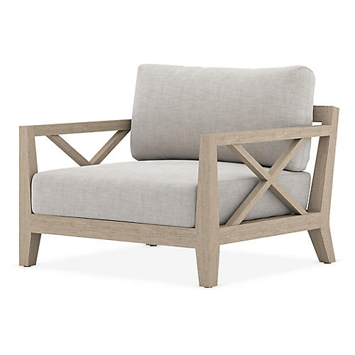 Huntington Outdoor Chair, Brown/Stone Gray