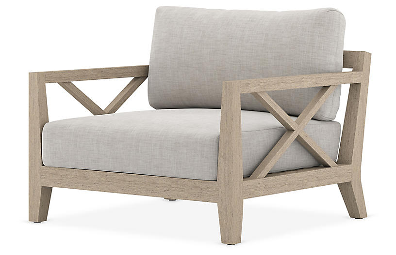 Tate Outdoor Chair, Brown/Stone Gray
