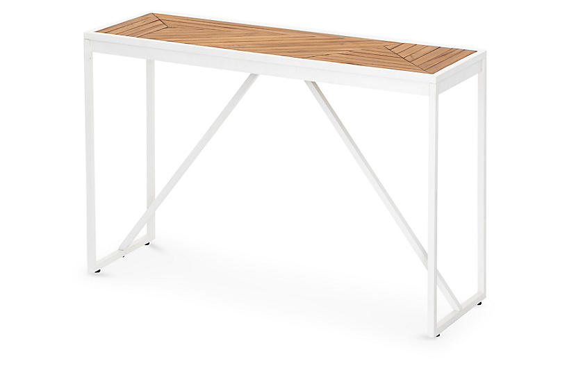 Mora Outdoor Console Table, White/Natural
