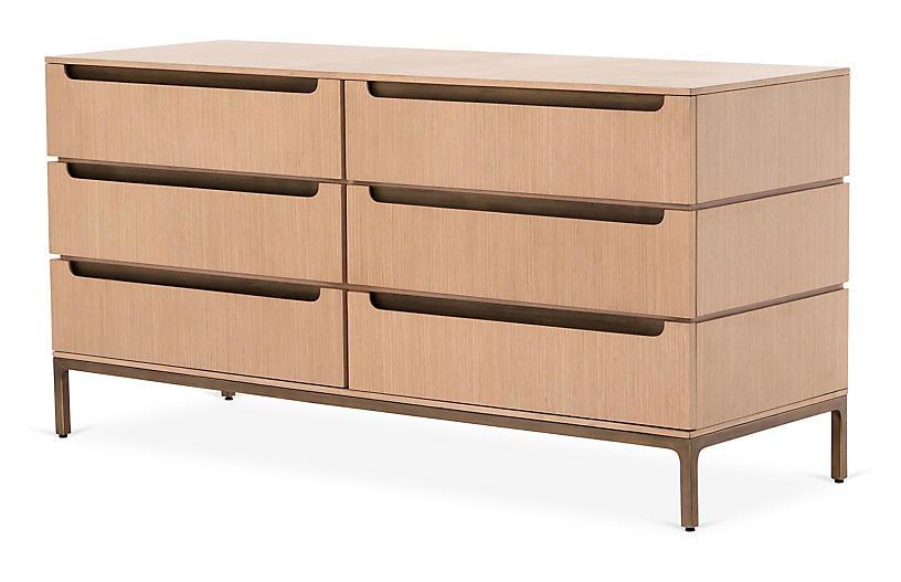 Tracey Boyd Nevin 6-Drawer Dresser, Oak Veneer