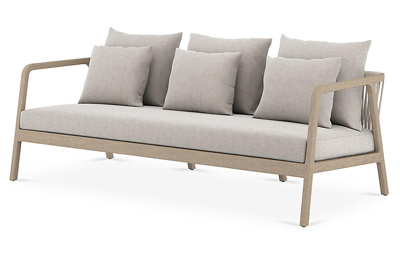 Macy Outdoor Sofa, Washed Brown/Stone Gray