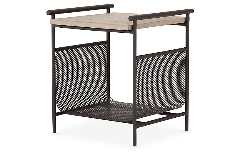 Heath Outdoor End Table, Washed Brown/Bronze