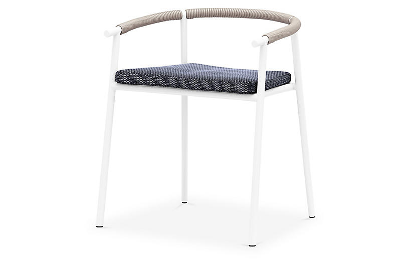 Bea Outdoor Dining Chair, White/Faye Navy