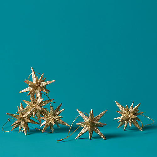 S/6 Moravian Star Ornaments, Gold