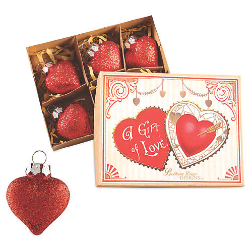 S/6 Glitter Heart Ornaments, Red