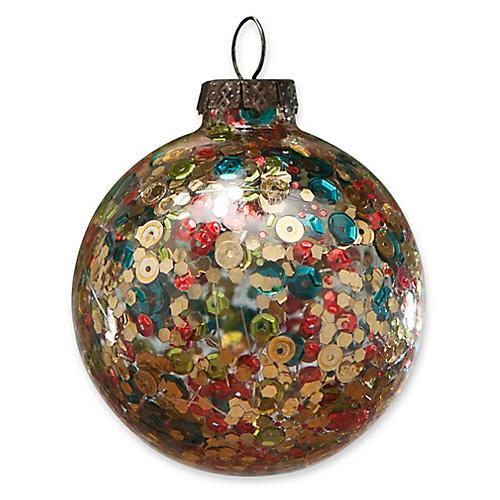Sequined Globe Ornament, Gold/Multi