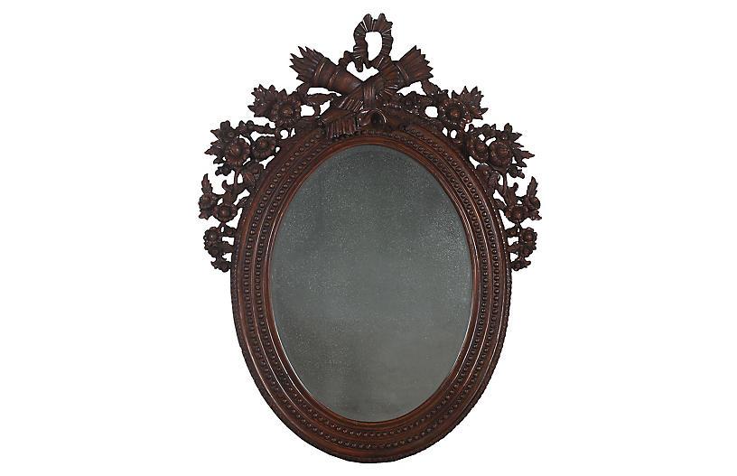 Haddock Oversize Wall Mirror, Mahogany