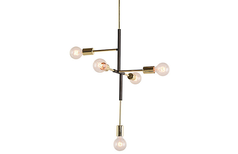 Wallace Chandelier, Gold/Black