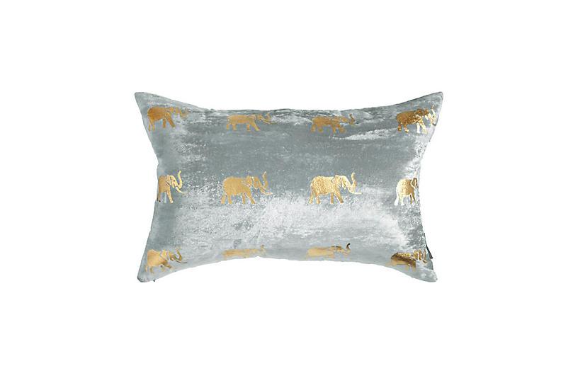 Meru 14x22 Lumbar Pillow, Gray Velvet