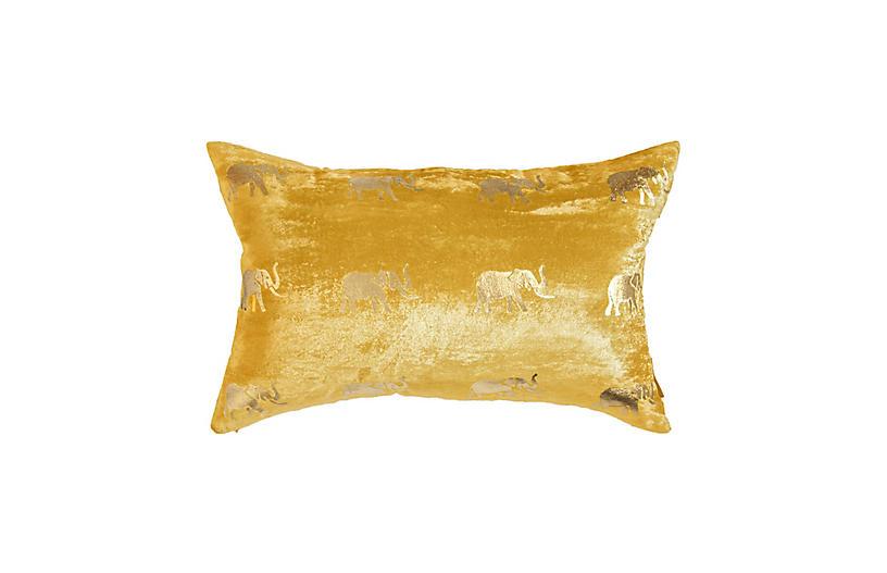 Meru 14x22 Lumbar Pillow, Gold Velvet