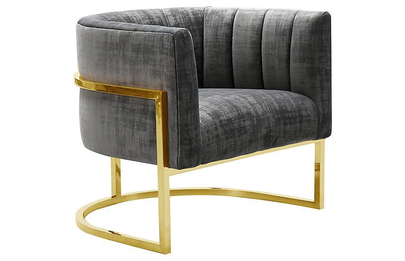 Tondela Accent Chair, Gray Velvet