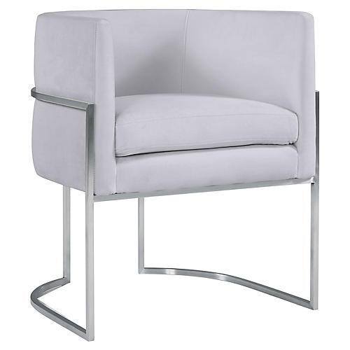 Fao Side Chair, Gray Velvet