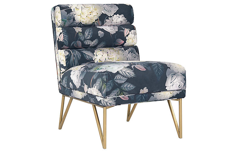 Beja Accent Chair, Blue Floral Velvet