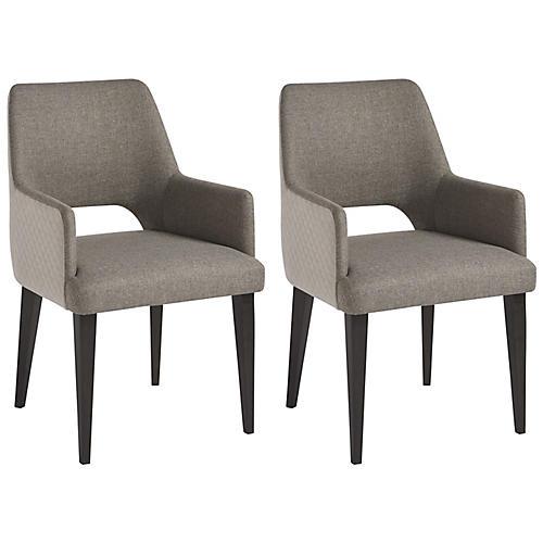 S/2 Tatum Armchairs, Gray