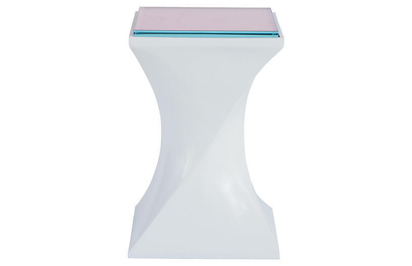 Silhouette End Table, White Lacquer