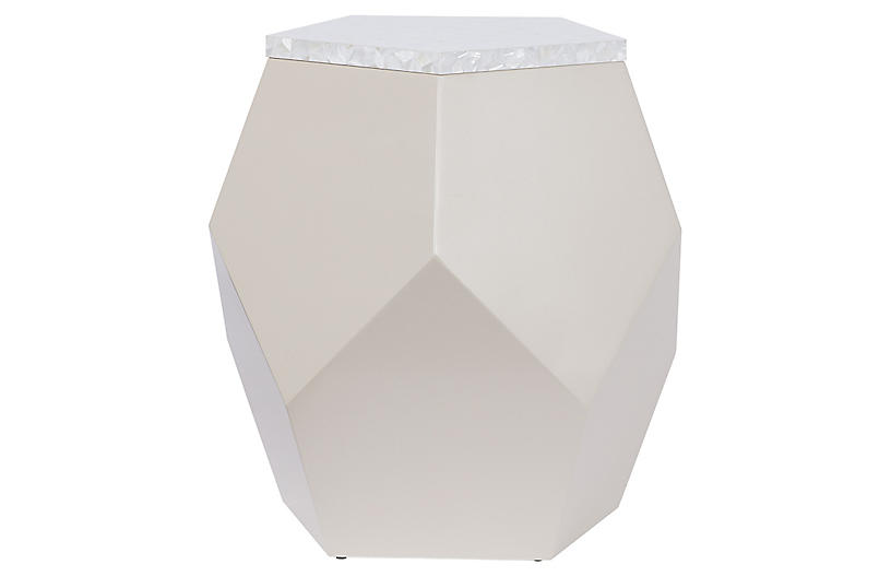 Geo End Table, Taupe Lacquer
