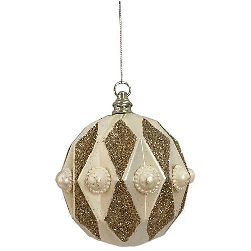 Harlequin Ornament, Cream
