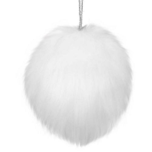 Fur Ball Ornament, White
