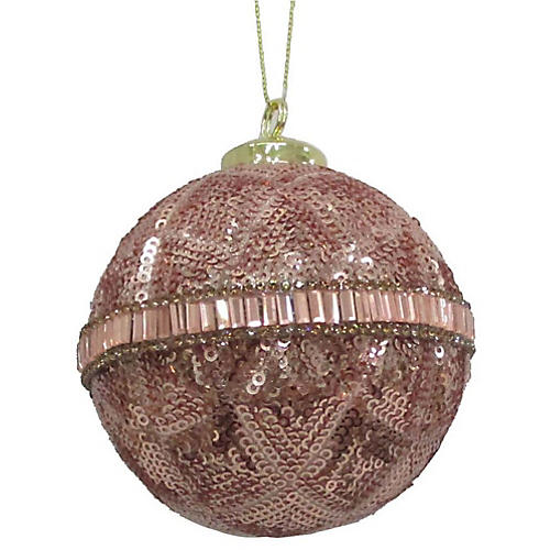 Louise Sequin Ornament, Blush