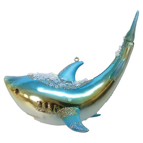 Shark Bejeweled Ornament, Blue