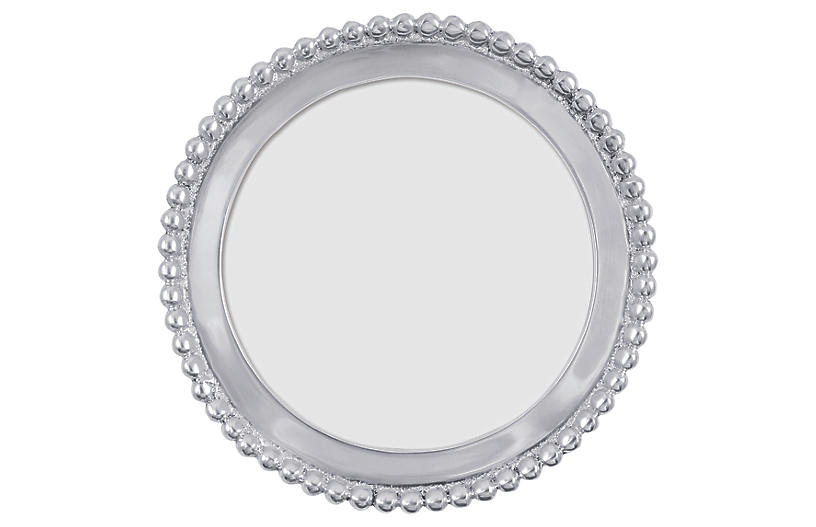 4x6 Beaded Round Frame, Silver