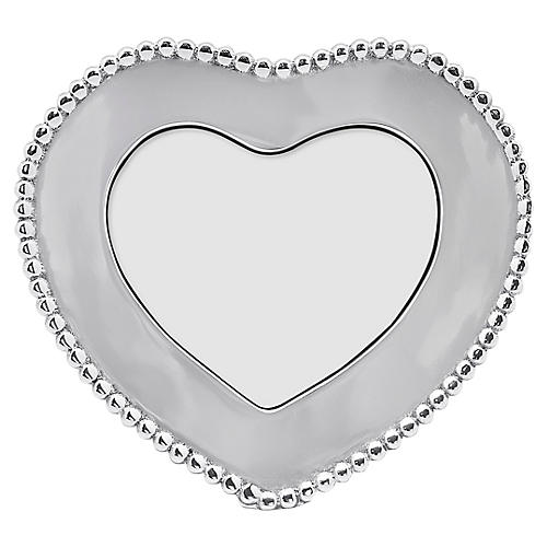 4x6 Beaded Heart Frame, Silver