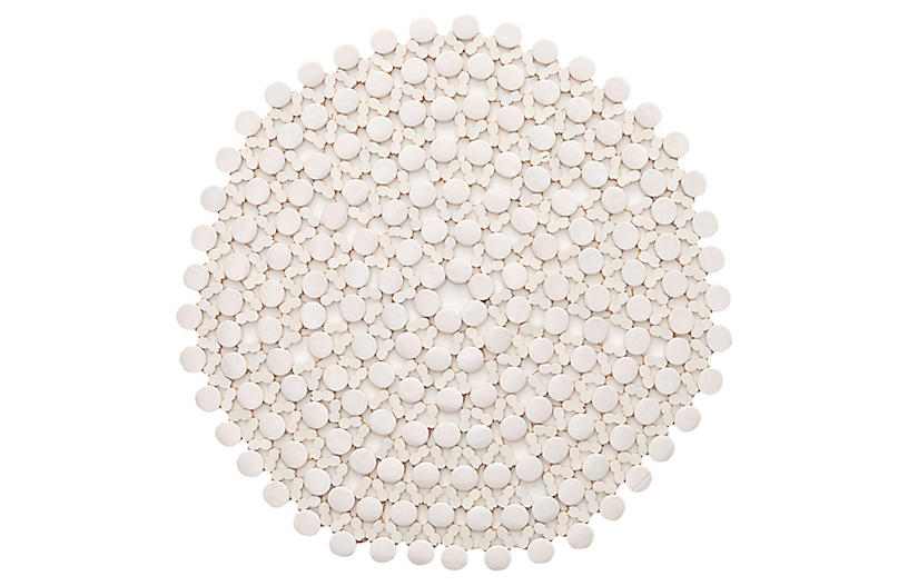 S/4 Round Place Mats, White