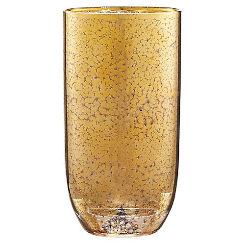S/4 Crackle Highball Glasses, Gold
