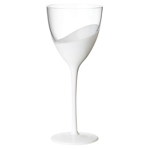 S/4 Vague Red-Wine Glasses, Clear/White