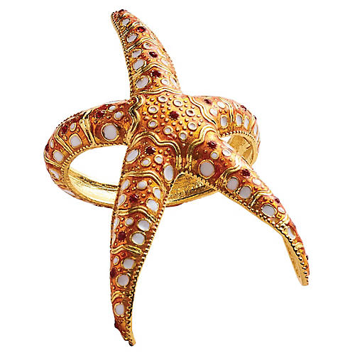 S/4 Starfish Napkin Holders, Coral/Gold