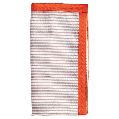 S/4 Ribbon Dinner Napkins, Natural/Orange