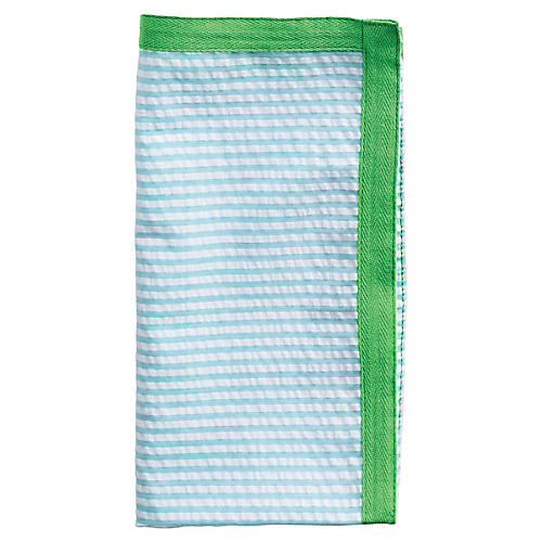S/4 Ribbon Dinner Napkins, Blue/Green