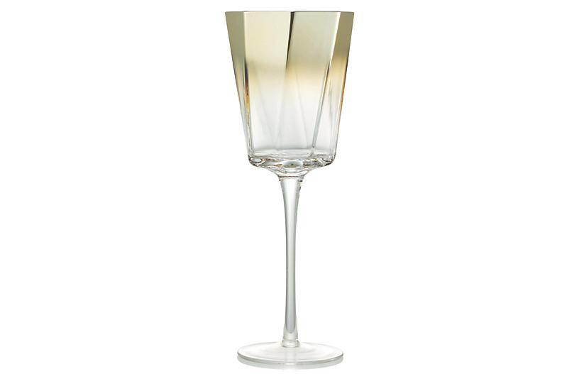 S/4 Helix Goblets, Clear/Gold