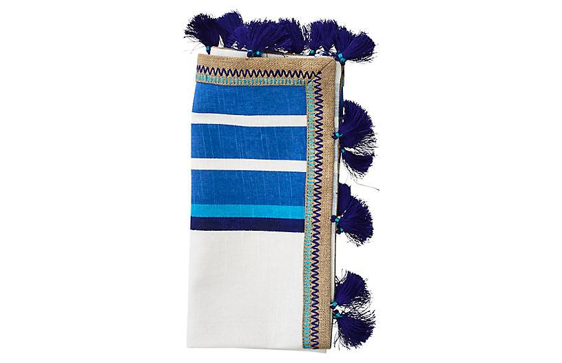 S/4 Jaipur Napkins, White/Blue