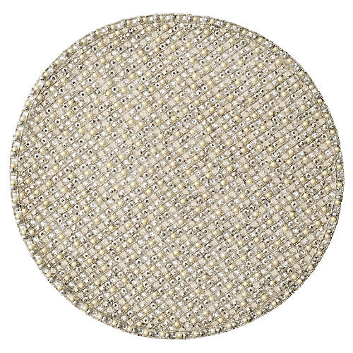 S/4 Brilliant Place Mats, Silver/Crystal