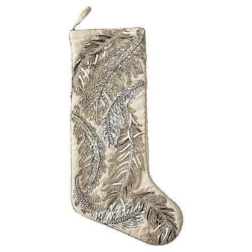 "20"" Quill Stocking, Silver/Crystal"