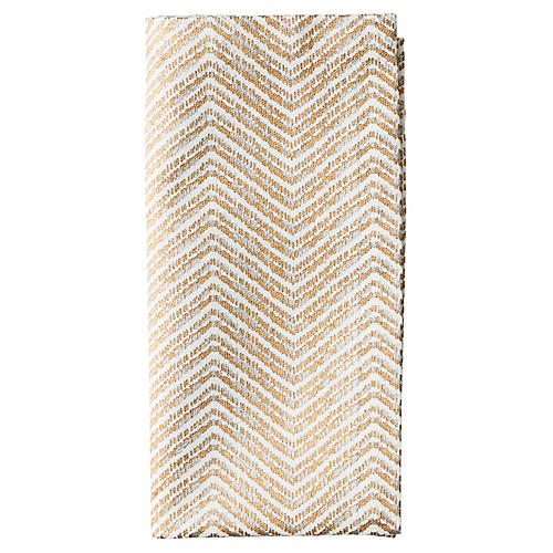 S/4 Drift Dinner Napkins, White/Gold