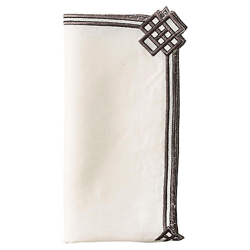 S/4 Trellis Dinner Napkins, White/Gunmetal