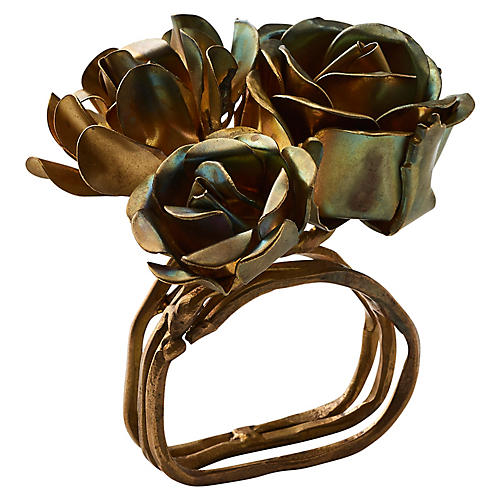 S/4 Bouquet Napkin Rings, Gold