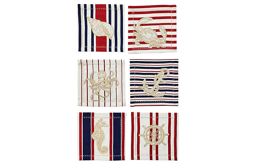S/6 Maritime Cocktail Napkins, Multi