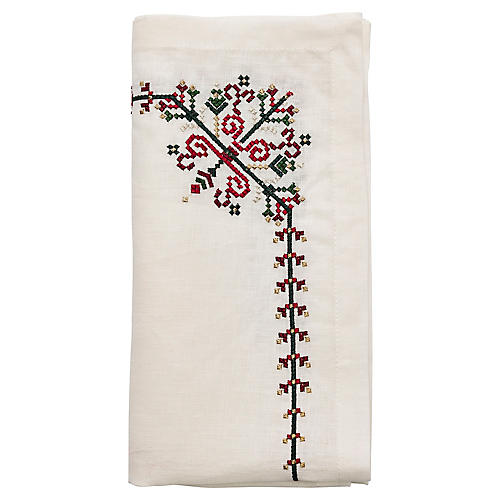 S/4 Yuletide Napkins, White/Multi