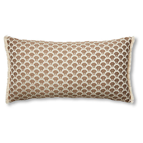 Willow 12x23 Lumbar Pillow, Yellow/Ivory