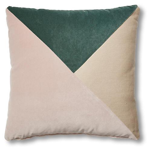 Scarlette 19x19 Pillow, Jade/Mauve Velvet