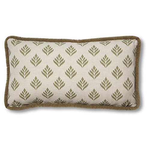 Georgia 12x23 Lumbar Pillow, Dusty Green Linen