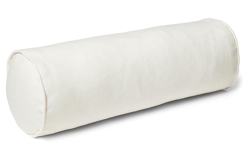 Anne Bolster Pillow, White Linen